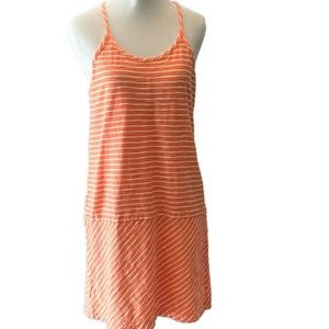 Lou & Grey Racerback Halter Peach Striped Dress S